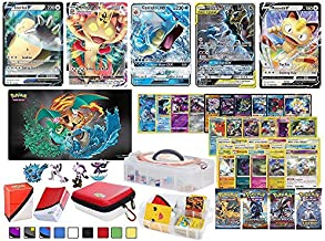 Totem World 100 Pokemon Cards Includes V VMAX Tag Team GX Mega EX Trainer or Shining Holo, 10 Rares, 4 Booster Packs, 100 Sleeves, Zipper Card Case, Deck Box, Figure & a Large Storage Carrying Case