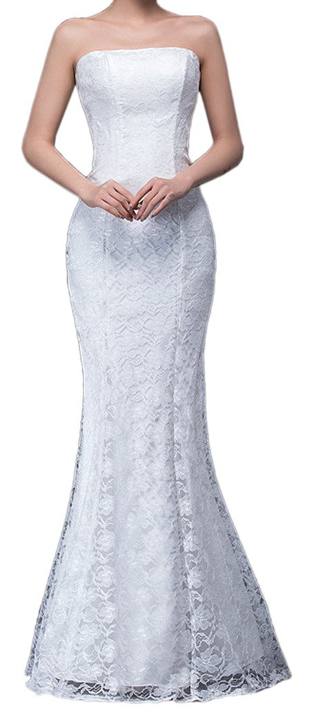 Available at Amazon: Eyekepper Bridesmaid Sexy Strapless Wedding Long Dress Mermaid Lace Prom Gown