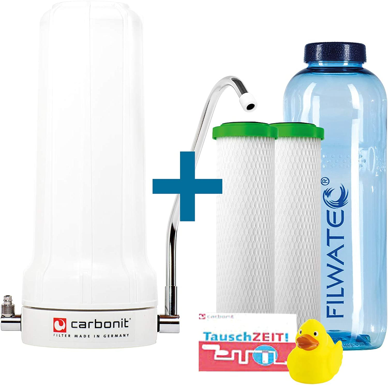 Filwatec Carbonit SanUno Sparset I Auftischfilter 2 NFP Premium Monoblock Filterpatronen I Aktivkohlefilter I Wasserfilter Wasserhahn I Trinkflasche