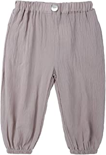Wofupowga Toddler Girls Elastic Waist Pull-On Pure Color Comfort Jogger Pants