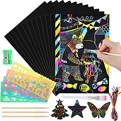 Luclay Scratch Paper Art Set, 156 Piece Rainbow Magic Scratch Paper for Kids Black Scratch it Off Art Crafts Notes Boards Sheet with 5 Wooden Stylus for Easter Party Game Christmas Birthday Gift