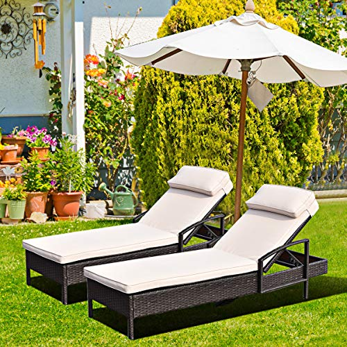 Patiojoy Patio Reclining Chaise Lounge, Outdoor Beach Pool Yard Porch Wicker Rattan Chaise, Adjustable Backrest Lounger Chair (Beige)