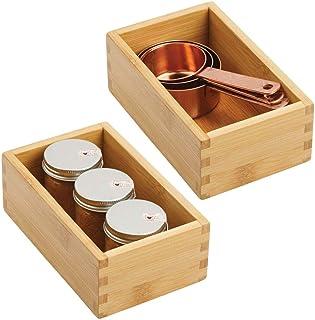 mDesign rangement à tiroir en bambou pour la cuisine (lot de 2) – range couverts modulable pour l'argenterie, la vaisselle...