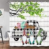 Farmhouse Oster-Duschvorhang, niedliche Zwergeneier, Büffelkaro, Karomuster, LKW, Auto, grünes Blatt auf rustikalem Holz, Urlaub, Badezimmer, Duschvorhang, 175 x 178 cm