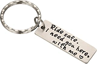 Ride Safe Keychain I Need You Here with Me Personalized Keychain Birthday Anniversary Gifts for Husband, Boyfriend Thanksgiving, Stocking Stuffer (Ride Safe)