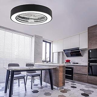 HGWファンライトシーリングファンシーリングライトクリエイティブシーリングライトLED調光シーリングファン付き照明とリモコンサイレントシャンデリア[エネルギーレベルA],Black