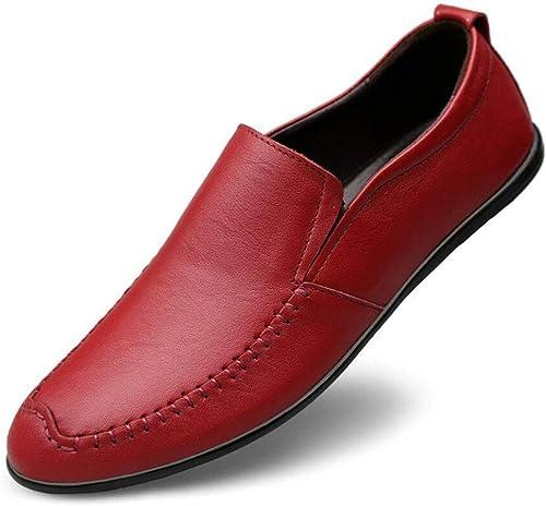 YAN 2018 Herbst Mens schuhe Leder Loafers & Slip-Ons Leichte Low-Top-Casual Fahr Schuhe Einkaufen Outdoor   Street Fashion Alltagskleidung (Farbe   Rot, Größe   42)