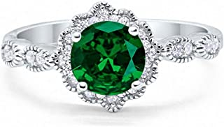 Halo Floral Art Deco Wedding Engagement Ring Round Cubic Zirconia 925 Sterling Silver Choose Color