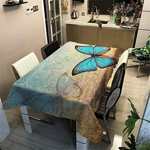 Surwin Wachstuchtischdecke Wachstischdecke Wachstuch Tischdecke abwaschbar für Tischsets Esstische Couchtische Und Küchen (Blauer Schmetterling 1,100x140cm)