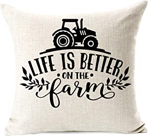 963RW Rustic Farmhouse Life is Better On The Farm Throw Pillow Cover Natural Farming Products Truck Pillowcase for Sofa Bed Living Room Farmhouse Decor Housewarming Gifts