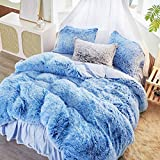 FlySheep 3 Piece Luxury Plush Shaggy Flannel Duvet Cover Set Soft Faux Fur Fluffy Bedding Set, Super Warm for Winter, Zipper Close (Mixed White & Blue, Queen)
