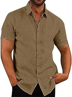 Mens Linen Beach Shirts Short Sleeve Pocket Casual Summer Button Up Lightweight Tops