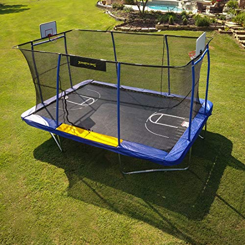 JumpKing 10' x 15' Rectangular Trampoline with BB Hoop, Volleyball Court and Foot Step, Blue/Yellow
