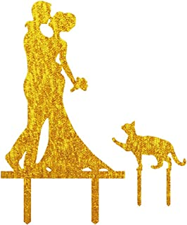 Wedding Anniverary In The Family Cake Topper Couple Bride Groom Cats Gold