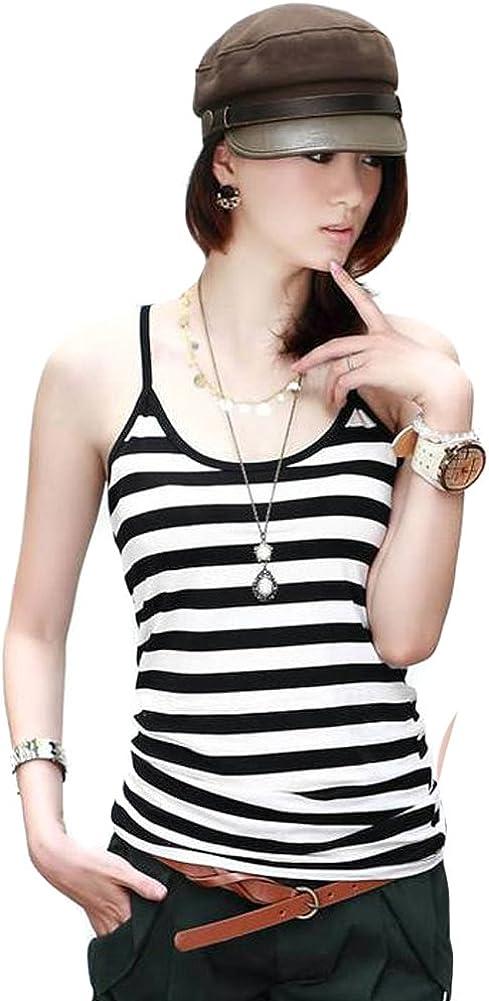 Lafon Women Black White Bold Thin Striped Tank Cami Top S-M FFK004s01