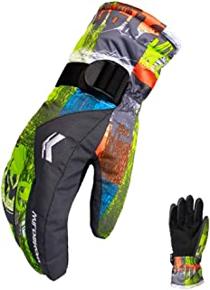 Guantes de esquí, aimdonr Invierno wärmste impermeable y transpirable guantes de nieve para hombre, mujer, mujer y niños Esquí, Snowboard, par de guantes, color Naranja, tamaño L