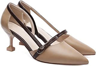 YNXZ-SHOE High Heels Ms Sandals, Stylish and Comfortable Pointed Shallow Mouth Buckle Rubber Sole, Non-Slip/Breathable, Beige/Apricot 34-39 Yards (Color : Apricot, Size : 37)