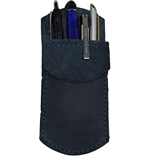 Durable Leather Pocket Protector/Pencil Pouch/Office & Work Essentials Pen Holder Handmade by Hide & Drink :: Slate Blue