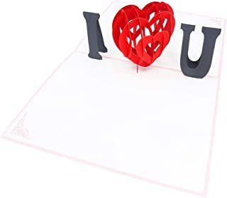 PopLife I Love You - Pink 3D Pop Up Mother's Day Card - Anniversary Pop Up, Happy Birthday, Engagement, Valentine's Day Gift for Her - Folds Flat for Mailing - for Mother, for Daughter, for Wife