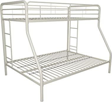 Twin Over Full Metal Bunk Bed, Multiple Colors, Home Furniture, Bedding, Children Bed Set, MAde of Sturdy Metal Frame, Secured Ladder, Bedroom, Twin Size, Space Saving, BONUS e-book (White)