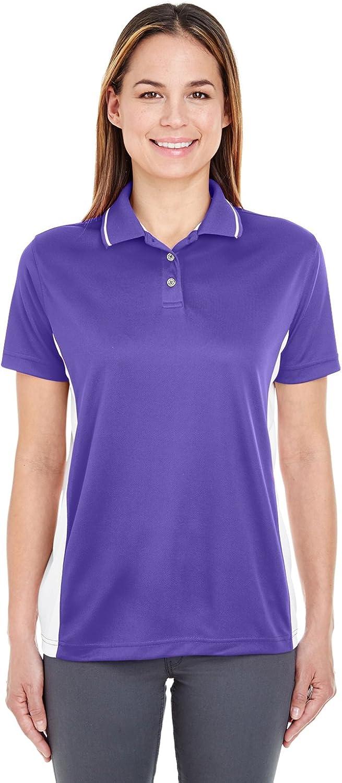 UltraClub 8406L Ladies Cool & Dry Sport 2-Tone Polo - Purple & White44; 3XL