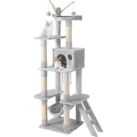 「166.5cmローマンスランド」CatRomanceキャットタワー ビッグサイズ多層キャットツリー 据え置きキャットランド 多頭飼い猫タワー 広い見晴らし台 おもちゃとつめとき付き 接着力 安定性 転倒防止 組立簡単タイプ (グレー)