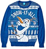 Disney Men's Ugly Christmas Sweater, Olaf Snow-It-All/Blue, Large by Disney