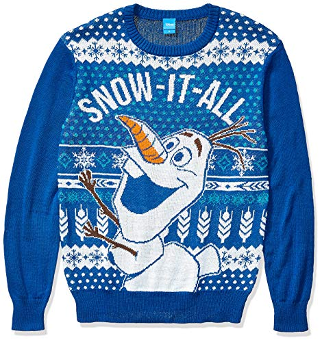 Disney Men's Ugly Christmas Sweater, Olaf Snow-It-All/Blue, X-Large