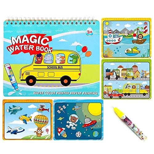 Sipobuy Magic Water Drawing Book Libro da colorare Acqua Doodle con Magic Pen Pittura Board for Children Education Drawing Toy (Veicolo)