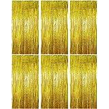 BETESSIN 6pcs Cortina Brillante (1*2m) Cortina de Oropel Metálica Cortina de Borla de Fondo de Foto Para Decoración Pared Fiestas Cumpleaños Navidad Boda Color Oro