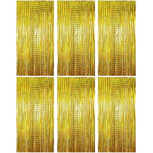 (1m x 2m) 6 stk Lametta Vorhänge Dekoration Folie Vorhang Glitzer Deko Glänzende Fransenvorhang Fransen Party Hintergrund Folien Glitzervorhang Schimmer Weihnachten (Gold)