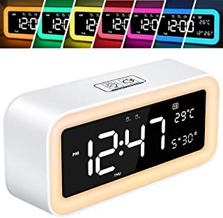 HUANLANG Wake-up Light Alarm Clock for Bedrooms Led Clock Large Display Snooze Dimmer 12/24Hr Nature Sounds 6 Color Night Light Digital Sunrise Alarm Clocks Dual Alarm for Heavy Sleeper Kids (White)