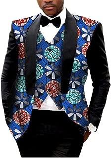 Young2 Mens Vest Blazer 2pcs-Set African Print Slim Fitted Suit Jacket
