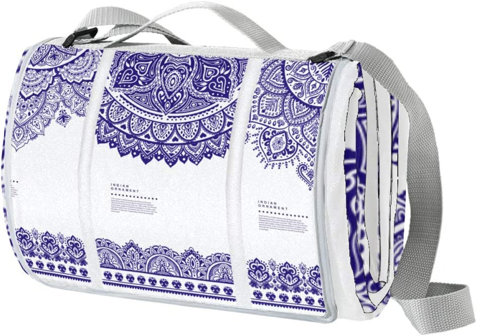 XJJUSC Blue and White Mandala Large Milwaukee Mall Blan Picnic Beach Blanket Quantity limited
