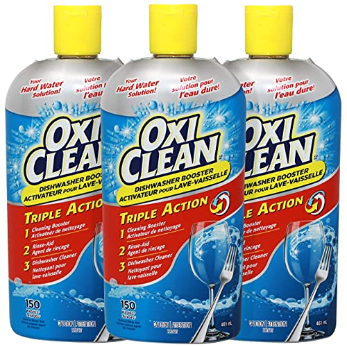 OxiClean Triple Action Booster Dishwasher Rinse-Aid For Clear Glasses and Dishes, 15.5 FL OZ - Pack of 3