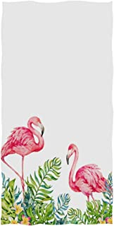 Naanle Stylish Tropical Leaves Couple Pink Flamingo Print Soft Guest Hand Towels for Bathroom, Hotel, Gym and Spa (16 x 30 Inches,White)