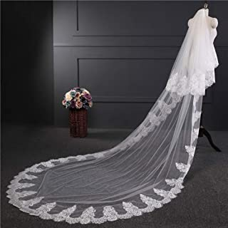 Wedding Veil,Bridal Veil Soft yarn over 3.9 meters double layer,Elegant Wedding Veil Three-dimensional flower lace yarn Tulle with Comb
