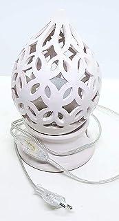Lampada da tavolo comodino Traforata Bianca Handmade Le Ceramiche del Castello Made in Italy Dimensioni h 23,5 x 13 cm