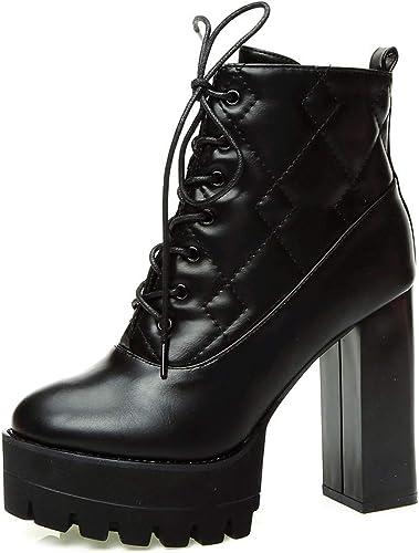 LBTSQ-Une Seule Les Chaussures Cravate Chaleureux De Coton épais 12Cm De Talon Court Tête Ronde Bottes Hauts Talons Mode