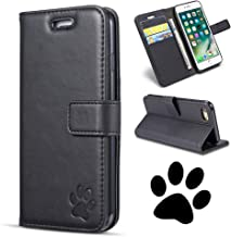 QLTYPRI iPhone 6 6S Case, Premium PU Leather TPU Bumper with Embossed Cute Bear Paw Pattern Magnetic Closure Card Holder Shockproof Wallet Case Cover for iPhone 6 6S - Black