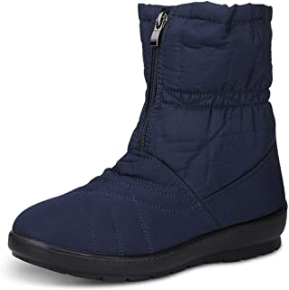 c5863f9c6c90 labato Women s Waterproof Wide Calf Winter Warm Ankle Snow Boots with Zipper