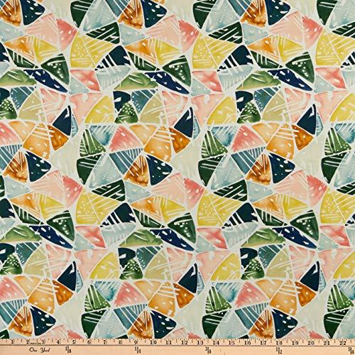 Cloud 9 Fabrics Organic Field & Sky Emerald Triangles Cotton Sateen Green/Pink Multi Fabric by the Yard