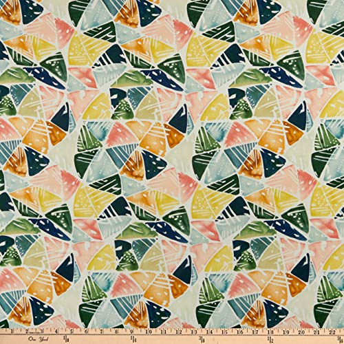 Cloud 9 Fabrics Organic Field & Sky Emerald Triangles Cotton Sateen Green/Pink Multi Fabric by the Yard