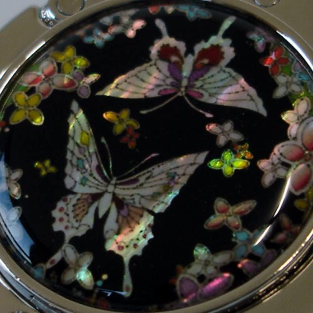 Mother of Pearl folding purse hanger hook in butterfly design