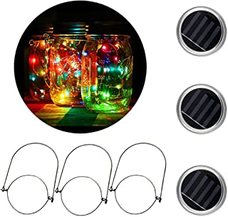 [3 Pack]MTZRFLL Solar Powered Mason Jar Lids Lights,20 LEDs Fairy Portable Lanterns,3 Stainless Steel Hangers(Jars NOT Included),for Patio,Garden,Christmas,Wedding,Windowsill (Multi-Colored)
