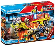 Playmobil 70557 City Action Fire Engine with Truck, Incl. Light and Sound Effects, for Children Ages...