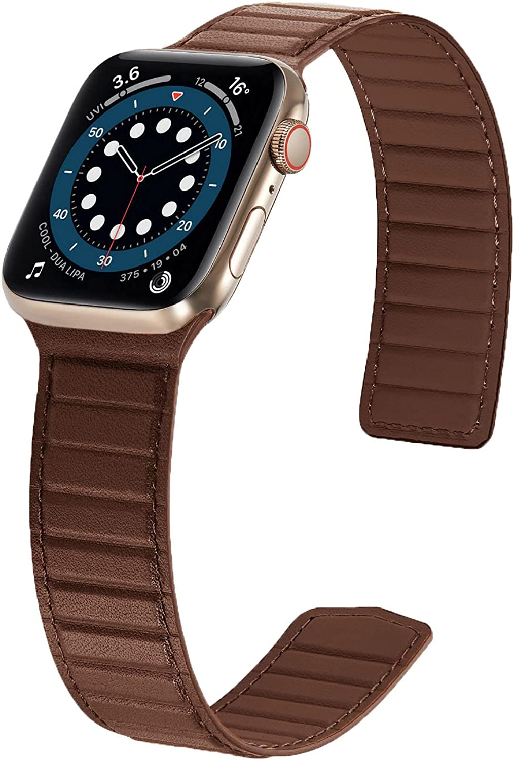 Magnetic Leather Bands Compatible with Apple Watch Band 45mm 44mm 42mm 41mm 40mm 38mm, Thin Leather Link Loop Replacement Wristband with Strong Magnet for iWatch SE & Series 7/6/5/4/3/2/1 Men Women