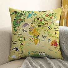 Kids Decor Pillowcase Hug Pillowcase Cushion Pillow Educational World Map Africa America Penguins Atlantic Pacific Ocean Animals Australia Panda Anti-Wrinkle Fading Anti-fouling W18 x L18 Inch
