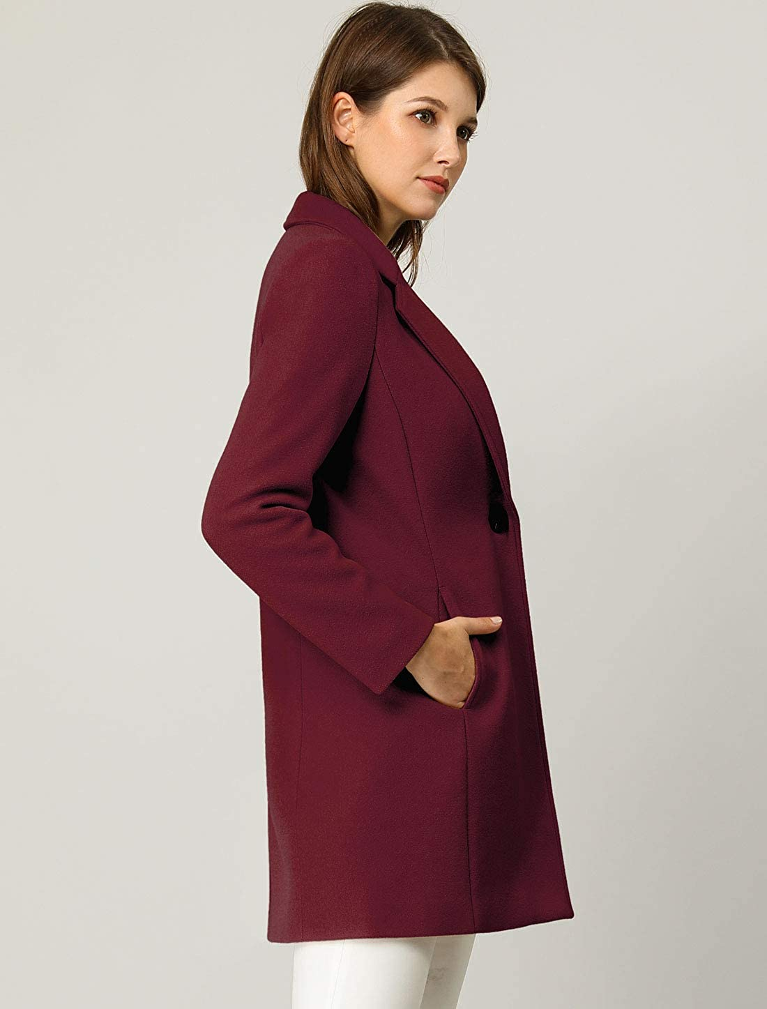 Allegra K Damen Langarm Umlegekragen Button Trenchcoat Mantel Burgundy