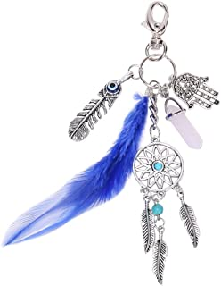 Chinatera Natural Opal Stone Dreamcatcher Keyring Fashion Jewelry Feather Keychain